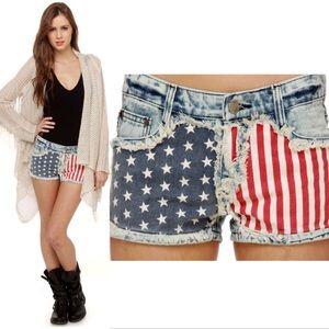 Pants - Gypsy Junkies Liberty Flag Print Denim Shorts